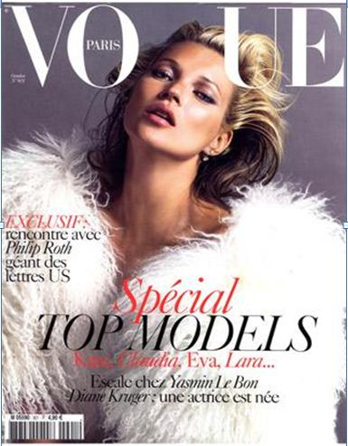 Kate Moss na capa da vogue Paris de outubro/09